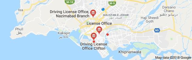 زیرنظر نقشے میں کراچی میں ڈرائیونگ لائسنس کے تینوں دفاتر کی نشاندہی کردی گئی ہے