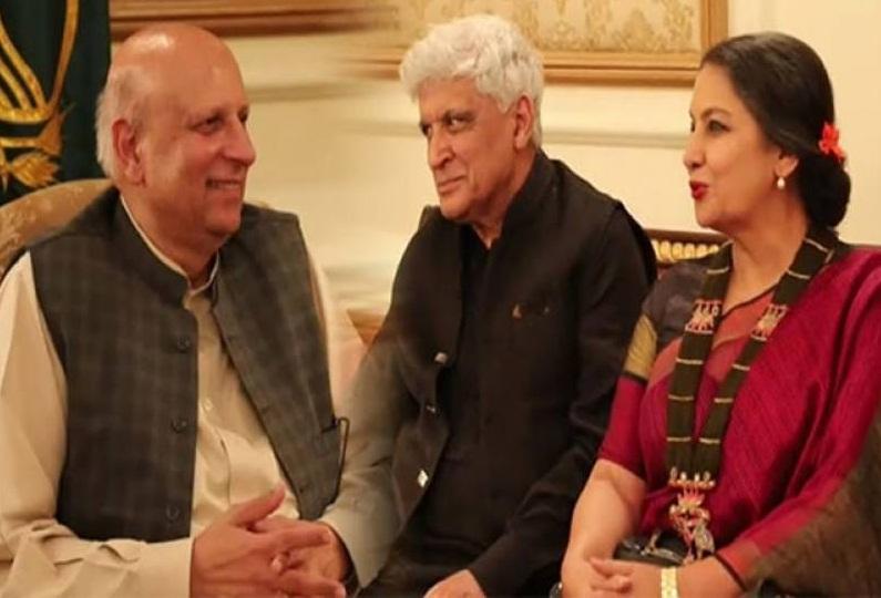 گورنر پنجاب چوہدری محمد سرور سے معروف اداکارہ شبانہ اعظمی اور شاعر و مصنف جاوید اختر ملاقات کررہے ہیں