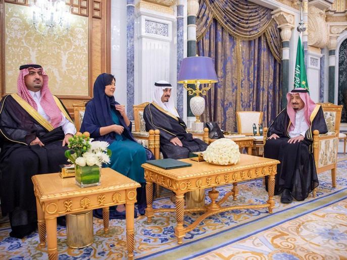شہزادی ریما بنت بندر بن سلطان سعودی دارالحکومت الریاض میں الیمامہ شاہی محل میں سعودی فرمانروا اور دیگرمہمانوں کے ہمراہ حلف برداری کے موقع پر