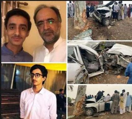 قمر زمان کائرہ کی ٹریفک حادثے میں جاں بحق بیٹے اسامہ کے ساتھ تصویر اور حادثے کا شکارگاڑی کی تصاویر