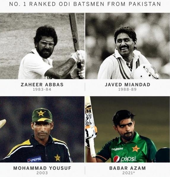 ظہیر عباس، جاوید میانداد اور محمد یوسف جیسے مایہ ناز کھلاڑیوں کی فہرست میں شامل ہونے پر بہت فخر محسوس کرتا ہوں ، بابر اعظم